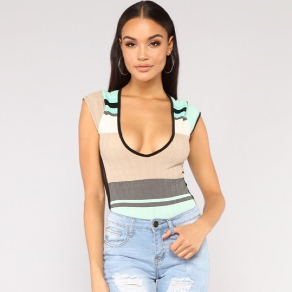 f1c0322d6272e NWT Fashion Nova striped size mesh bodysuit XS